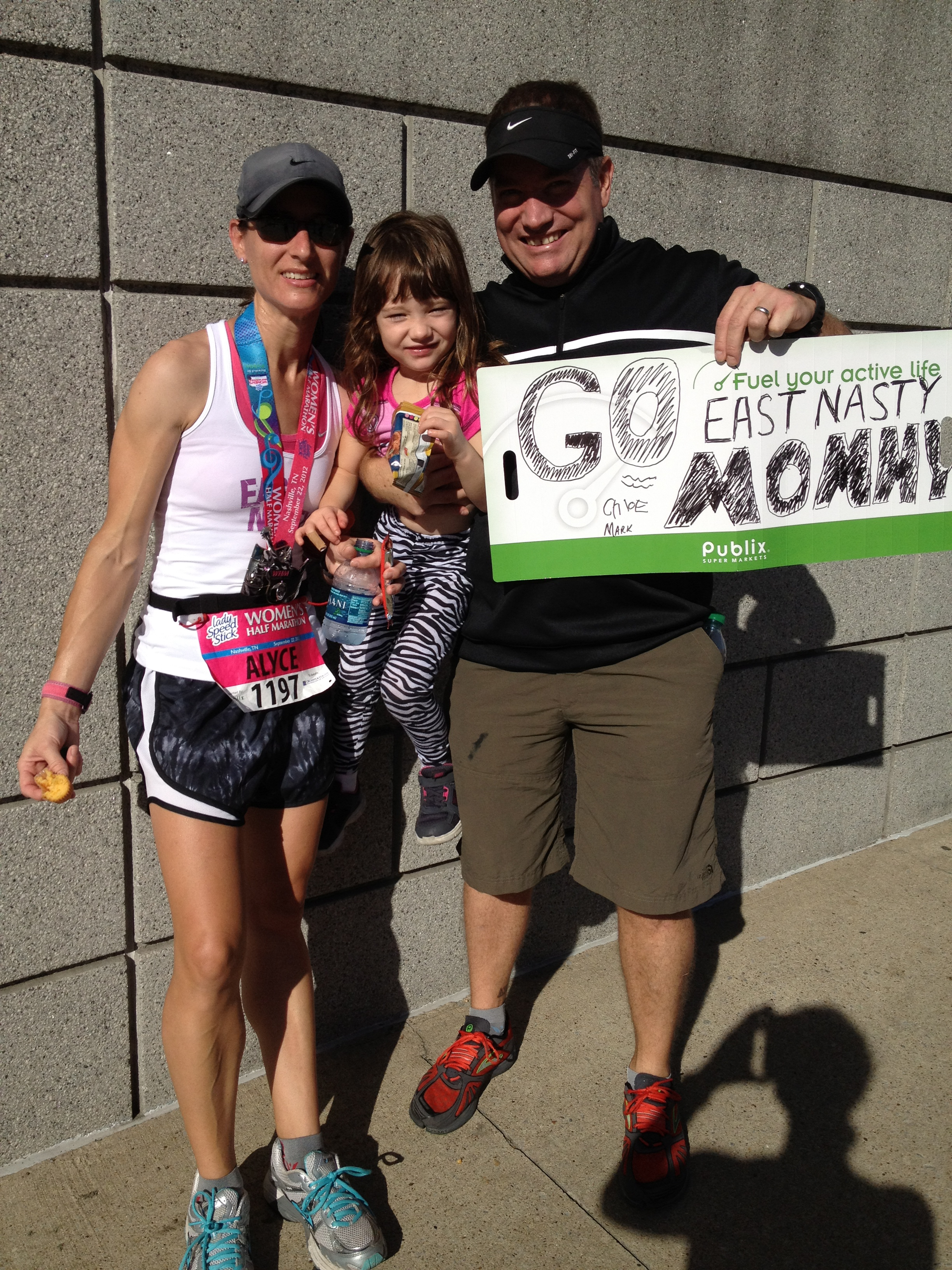After the finish of the 2012 Women's Half Marathon with Mark and Chloe.