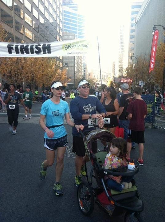 Alyce, Mark, and Chloe at the Mayor's 5k in 2012