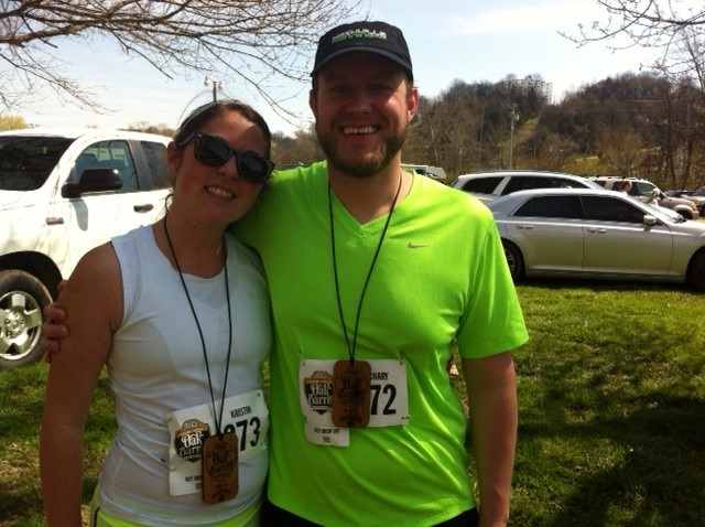 Kristin and Zach, her #1 running partner post Oak Barrel Half Marathon 2013