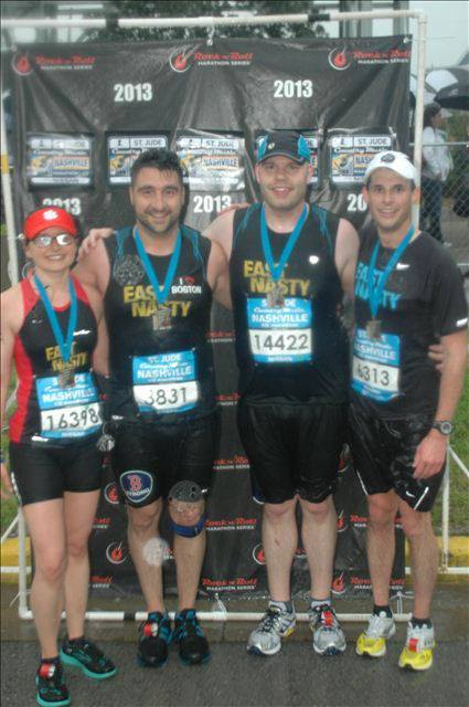 Brian with fellow East Nasties Grace, David, and Robert Wiseman after his first half marathon April 2013.