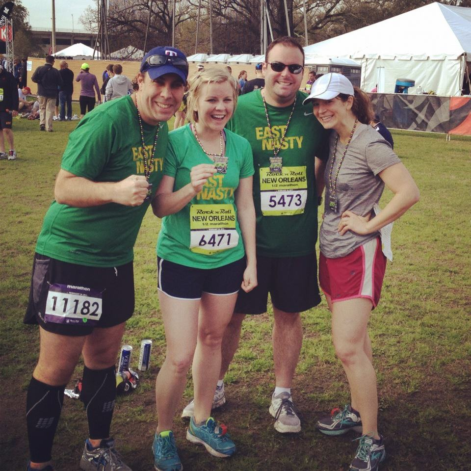 East Nasties Duane, Kristen, Matthew, and Emily at the New Orleans Half, 2013.
