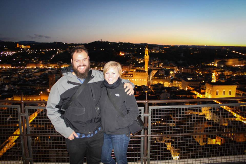 Kristen and her husband Tom at the top of the Duomo the day after the Florence Marathon at sunset. They climbed the 463 steps to the top!