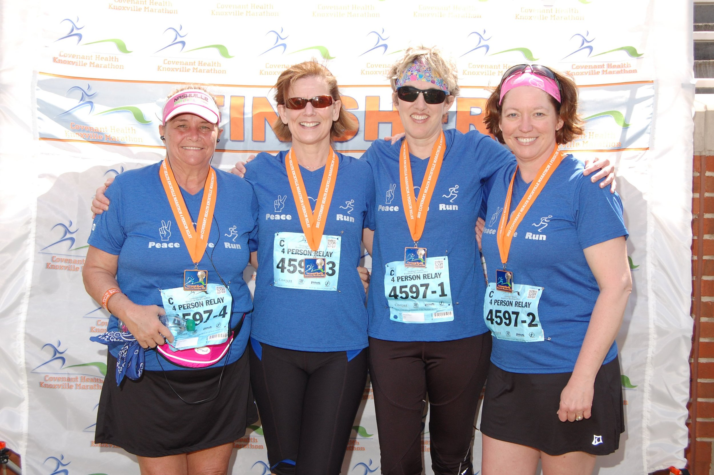 Knoxville_finish_all -- Knoxville Marathon Relay team with Susan Malone, Glenda Crowder and Peggy Stanfield