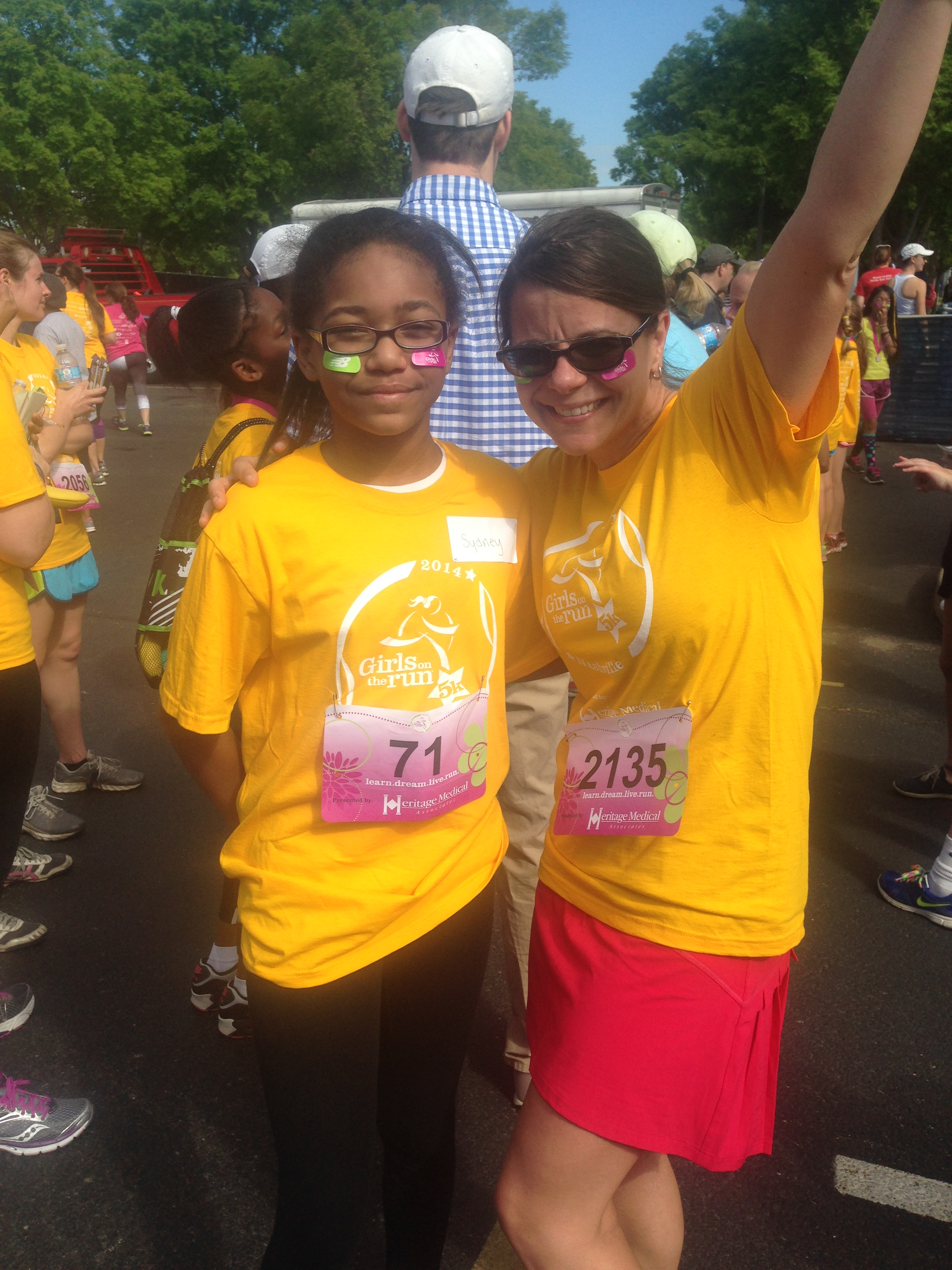 Kathleen celebrating with the girl she coached as a part of Girls on the Run