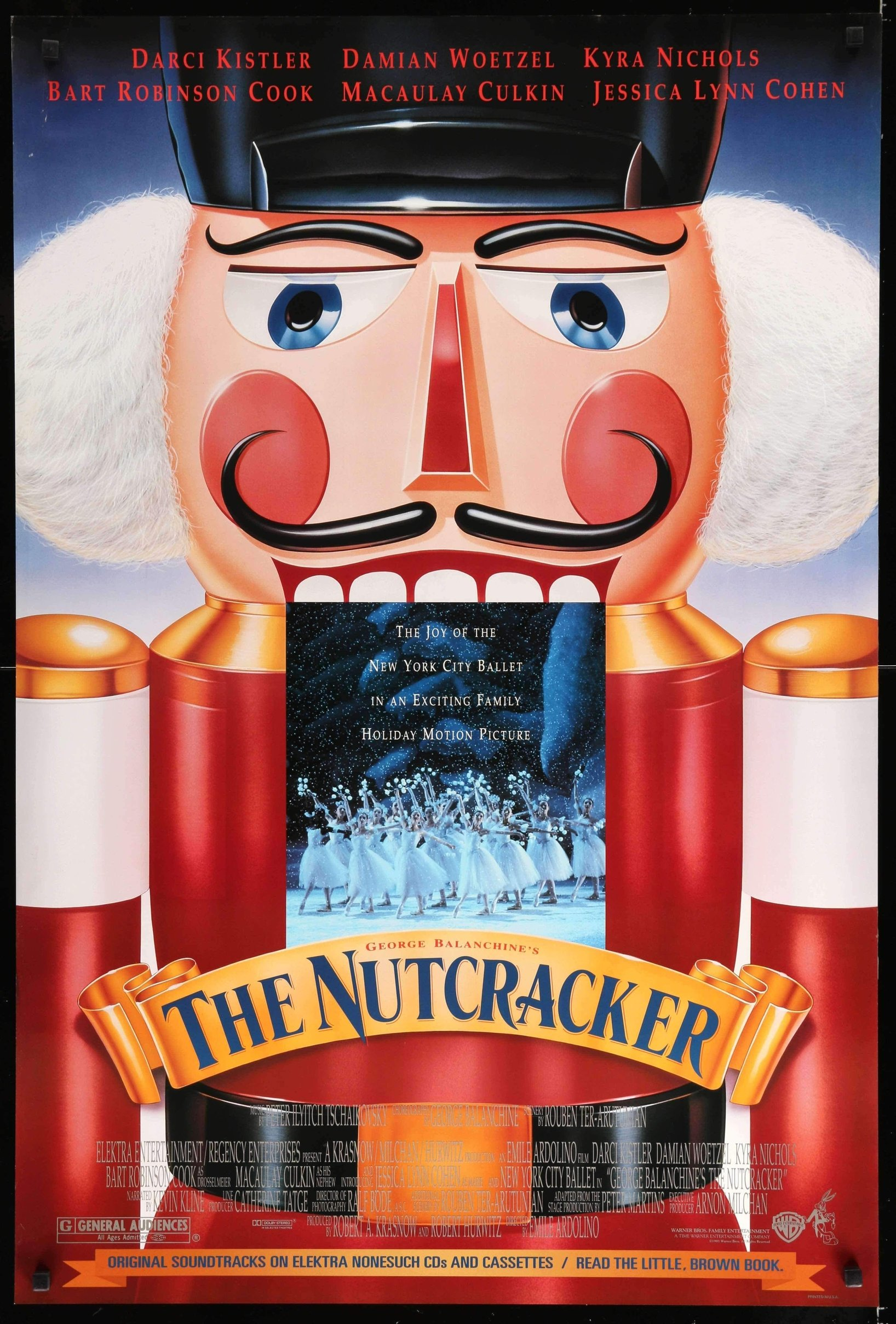 (1993) On Christmas Eve, a little girl named Marie falls asleep after a party at her home and dreams herself (or does she?) into a fantastic world where toys become larger than life. Her beloved Nutcracker comes to life and defends her from the Mouse King, then is turned into a Prince after Marie saves his life. -