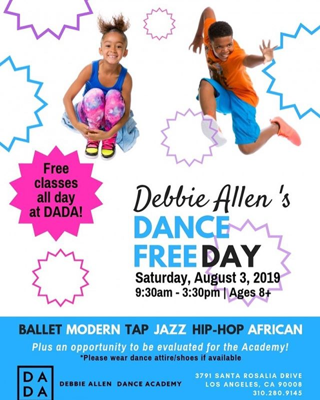 Join the Debbie Allen Dance Academy on Saturday, August 3rd for FREE DANCE CLASSES!!! Enjoy classes in African, Hip Hop, Jazz, Ballet and Tap. Ages 8+ are welcome. No pre-registration required. Participating students will be evaluated for entrance into the Academy's Fall Semester. #dailydosedance #losangeles #dance #train #debbieallendanceacademy details ♾ ☝🏾 www.dailydosedance.com/events