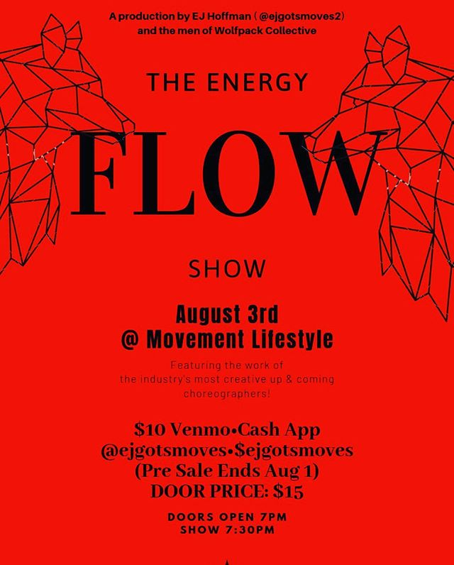 We are 24 hours away from The Energy Flow and there are less than 20 tickets available! Don't miss out on the @menofwolfpack! #dailydosedance #event #losangeles #dance #show #ejhoffman #wolfpackcollective #mL #LA #support the #community ❤️