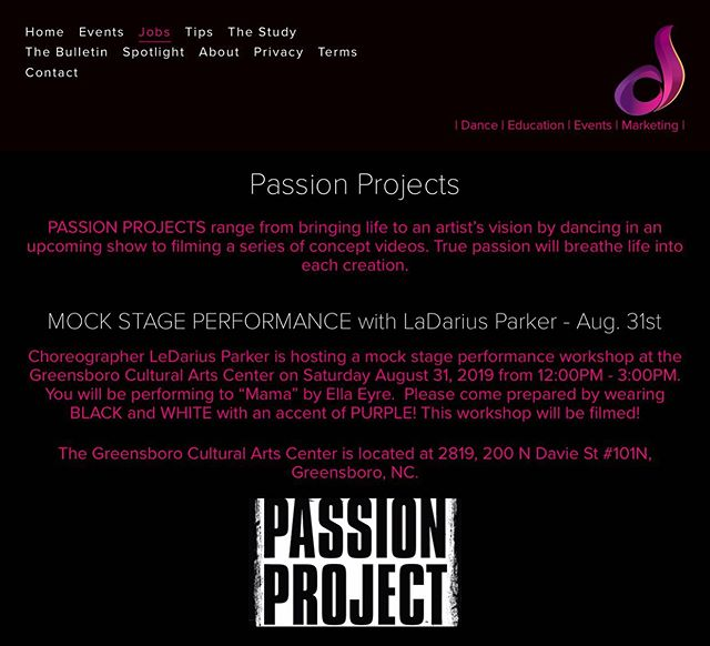#NC #Dance Fam! Join our very own @ledarius_parker TOMORROW for a Mock Stage Performance Workshop from 12:00PM-3:00PM!  Details ♾ in bio ☝🏾 #dailydosedance #passion #project #stage #performance #choreography  www.dailydosedance.com/passionprojects
