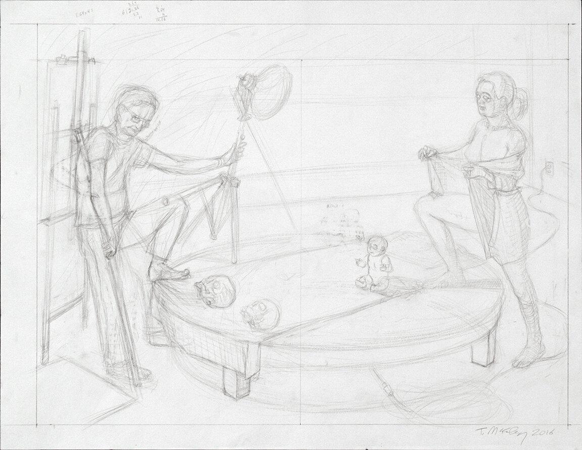 """Study for Presentiment, graphite, 14x21"""", 2016"""