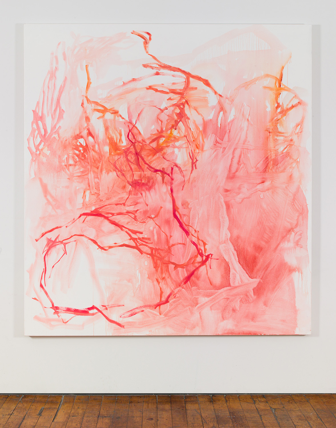 Installation view of  Clay Tendon, 76 x 70 inches, oil on canvas