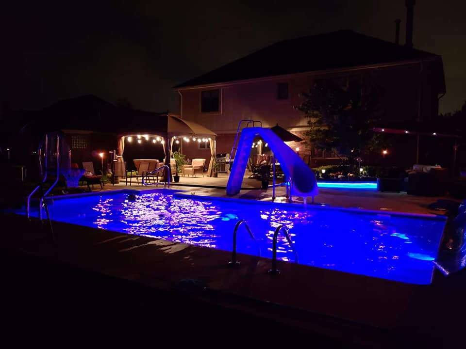 """Macomb, MI - The ultimate play pool!! This pool has all the bells and whistles including basketball hoop, & slide""""They did an awesome job installing our in ground pool. We couldn't be happier! Thanks Jeff and crew!"""""""