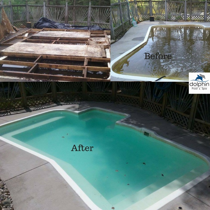 The Little Pool That Could - The home owner was certain this pool was a total loss! They definitely wanted to drain it! We promised neither was the case. Lots of hard work, shock, power washing the concrete and she is as good as new.