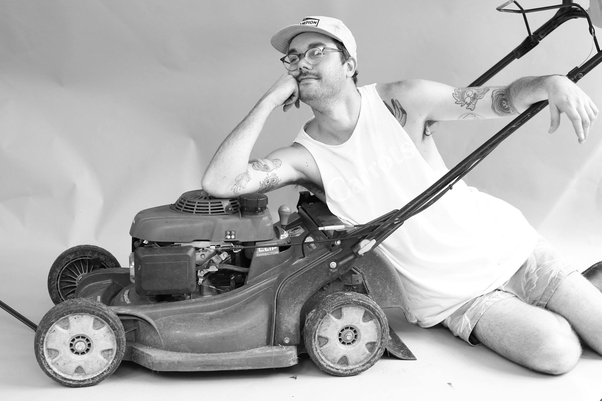 Grant Posing With A Lawnmower Black and White Photo