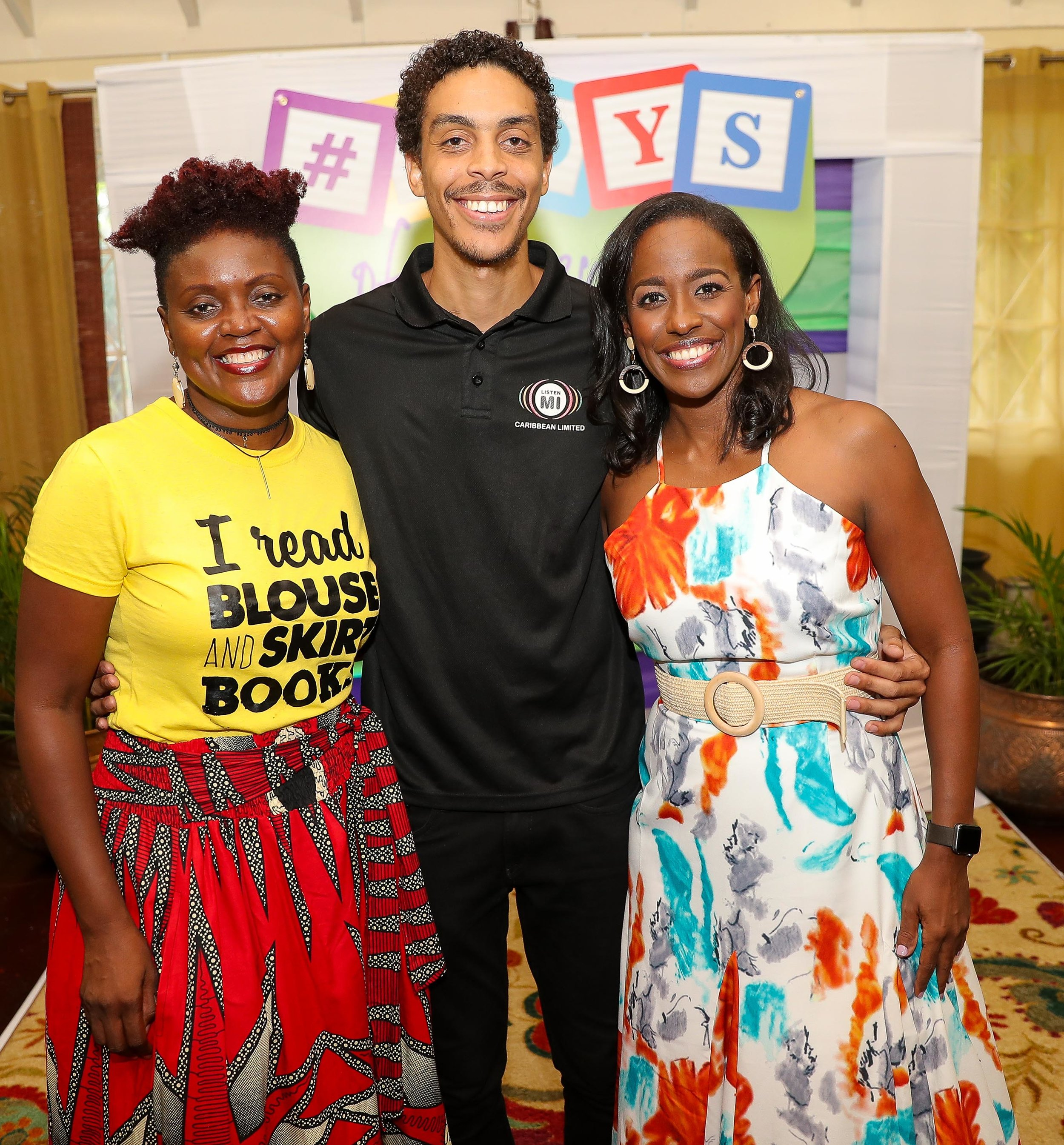 The #Joys Team - Carlette DeLeon (r) author of the #JoysOfParenting shared the joyous launch of the book with Tanya Batson Savage owner of publishing house Blouse and Skirt Books and Patrick Meikle, illustrator of the book during the launch held on Saturday July 27 at the Hope Zoo Tree House