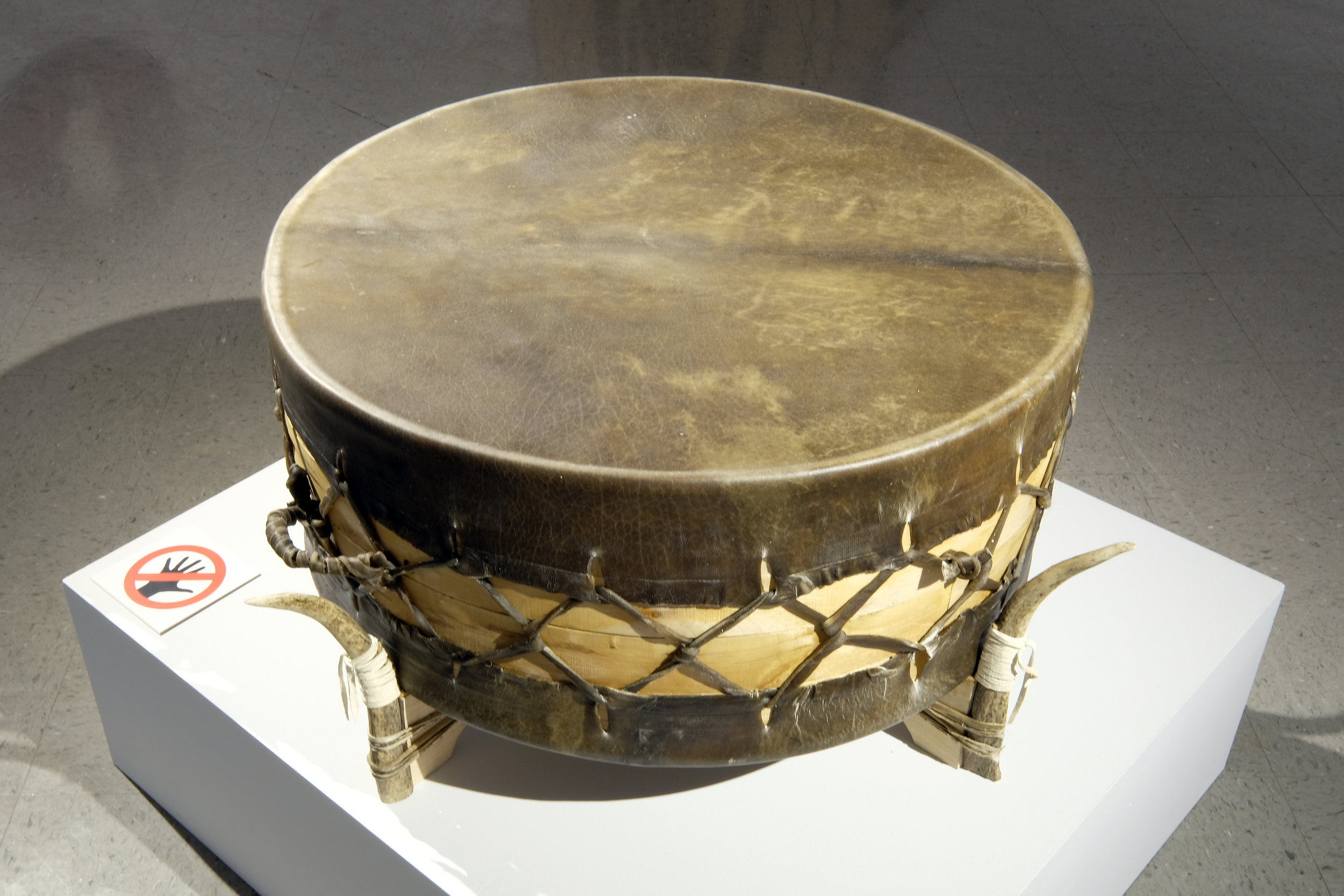 Ceremonial Drum,  buffalo rawhide, birch, elk horn,  2018