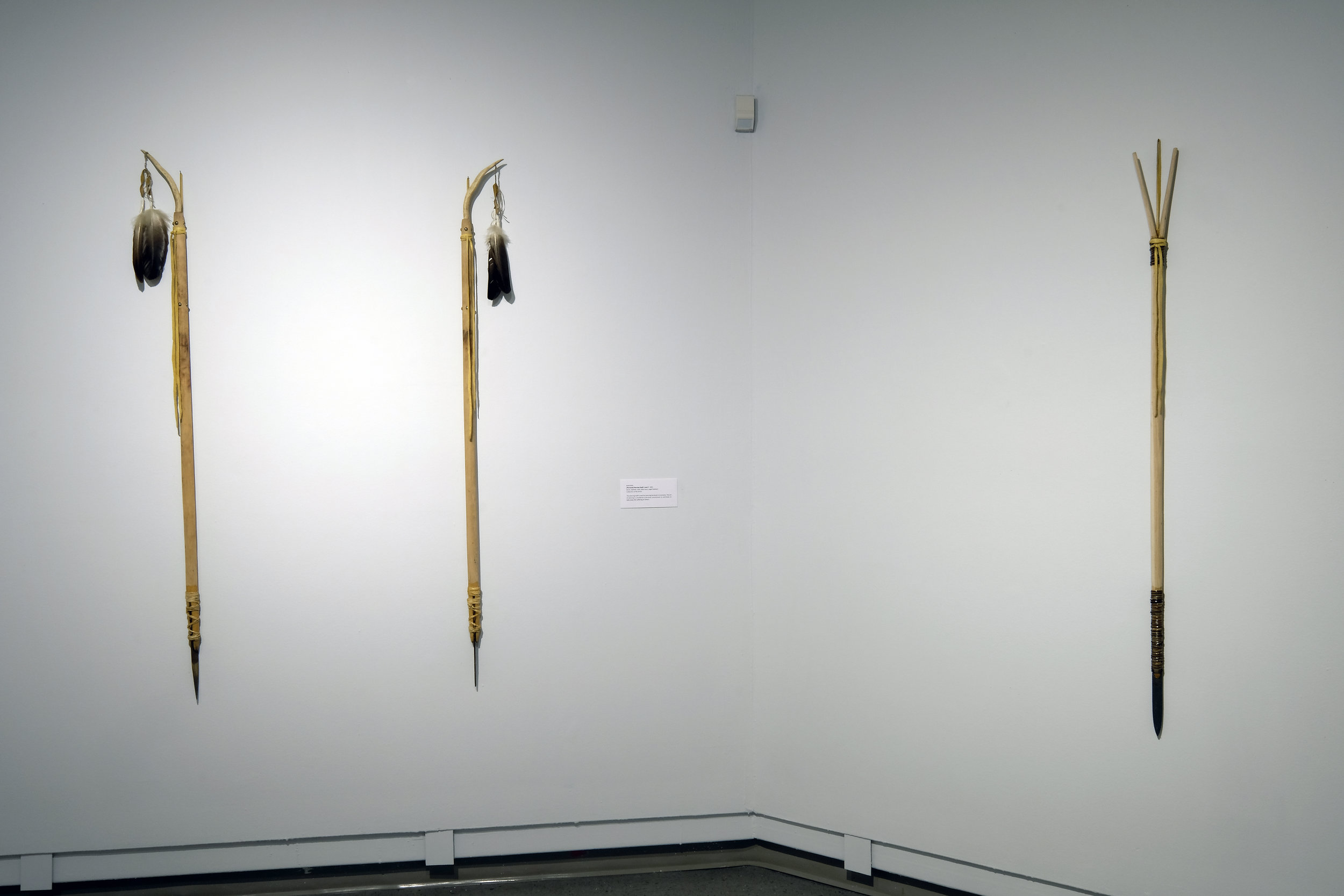 (Personal) Piercing Staff 1   and 2   ,   birch, rawhide, steel, deer horn, eagle feathers, 2001.    (Personal) Sundance Staff,  birch, rawhide, steel, 2001