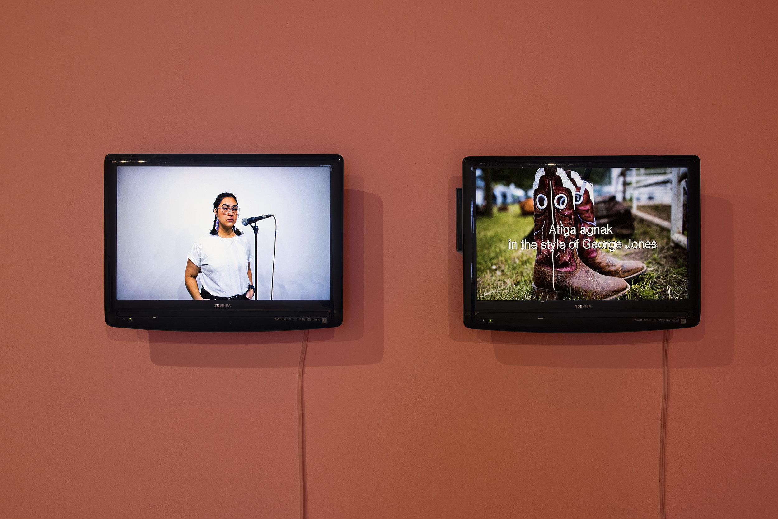 Kablusiak,  Atiga Agnak in the Style of George Jones , video, 2018. Photo: Nicole Kelly Westman.
