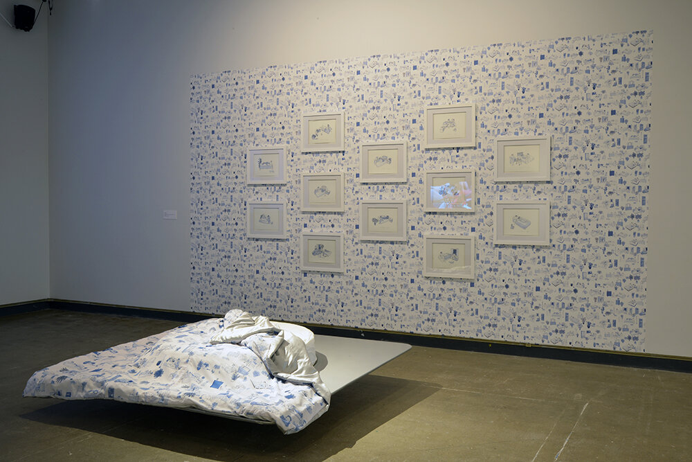 Cindy Baker,   Crash Pad,   2019. installation (Fiberglas, wallpaper, and assorted textiles) and prints (series of 20). Courtesy of dc3 Art Projects. Photo by Don Hall.