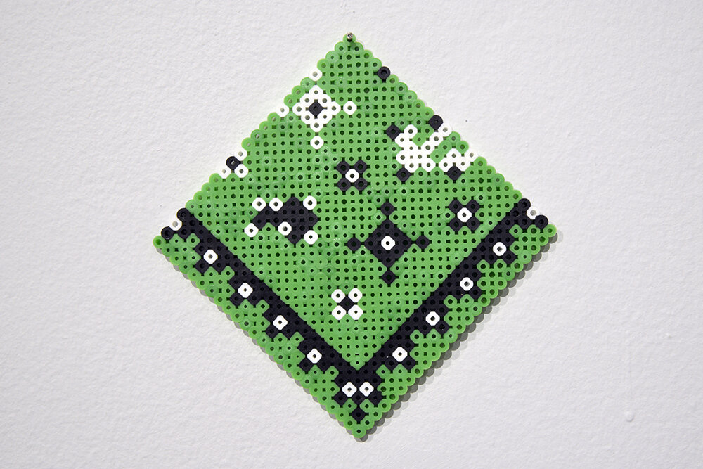 Megan Morman,   Hankies,   2012-14, fused plastic beads. Collection of the Artist. Photo by Don Hall.