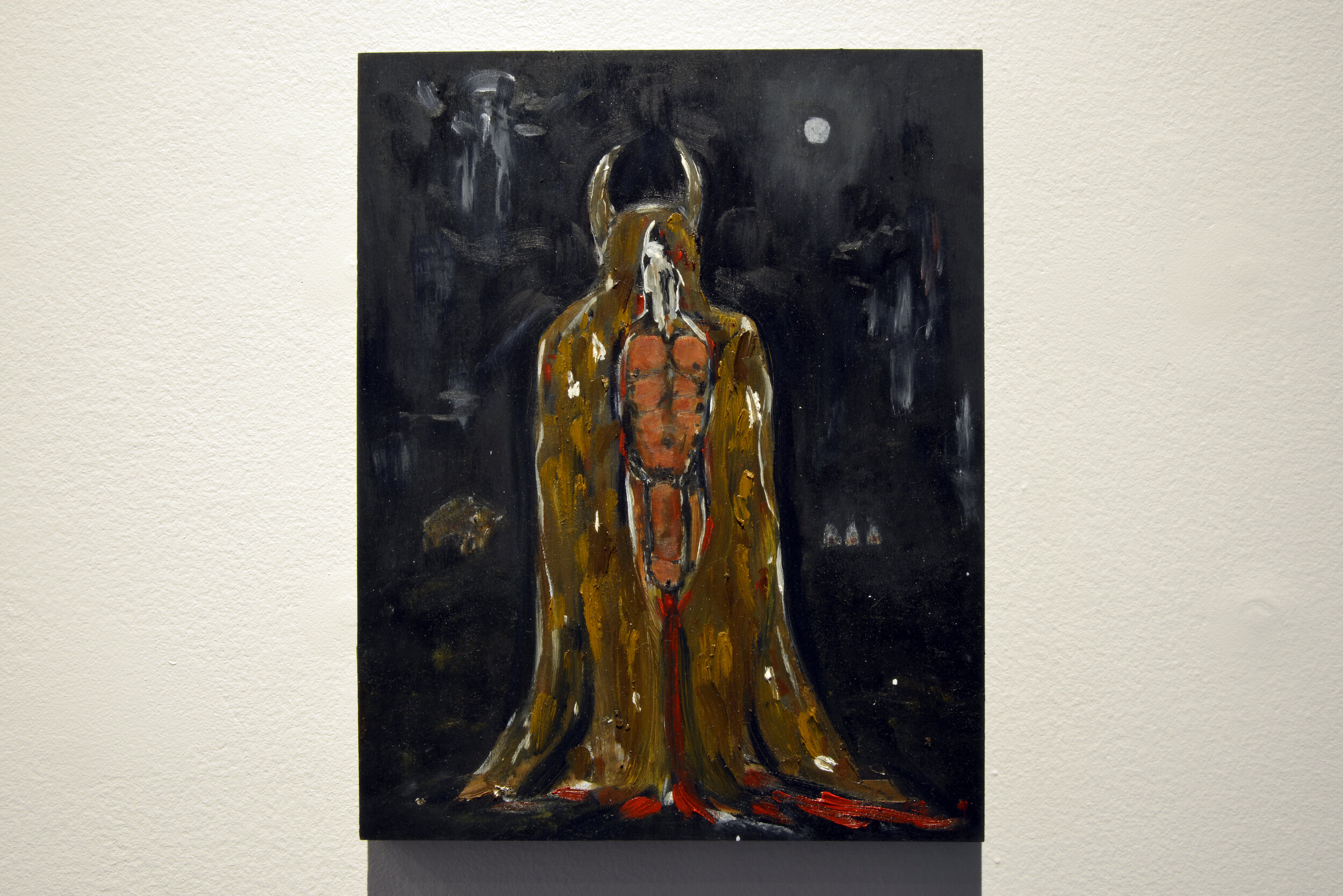 Adrian Stimson,   Shaman Exterminator Births Naked Napi,   2019, oil on wood. Collection of the Artist. Photo by Don Hall.