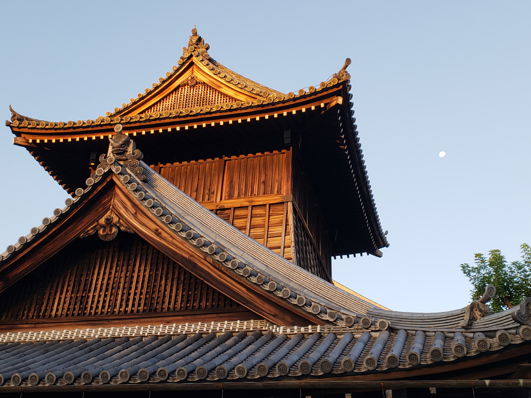 Honestly, I think this was up the street from Nishi Honganji (my records are unclear)...but see the full moon setting to the right of the building? Glorious.