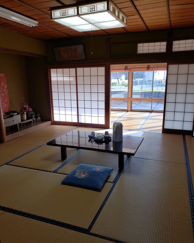 Our tatami-mat room, with traditional sliding doors.