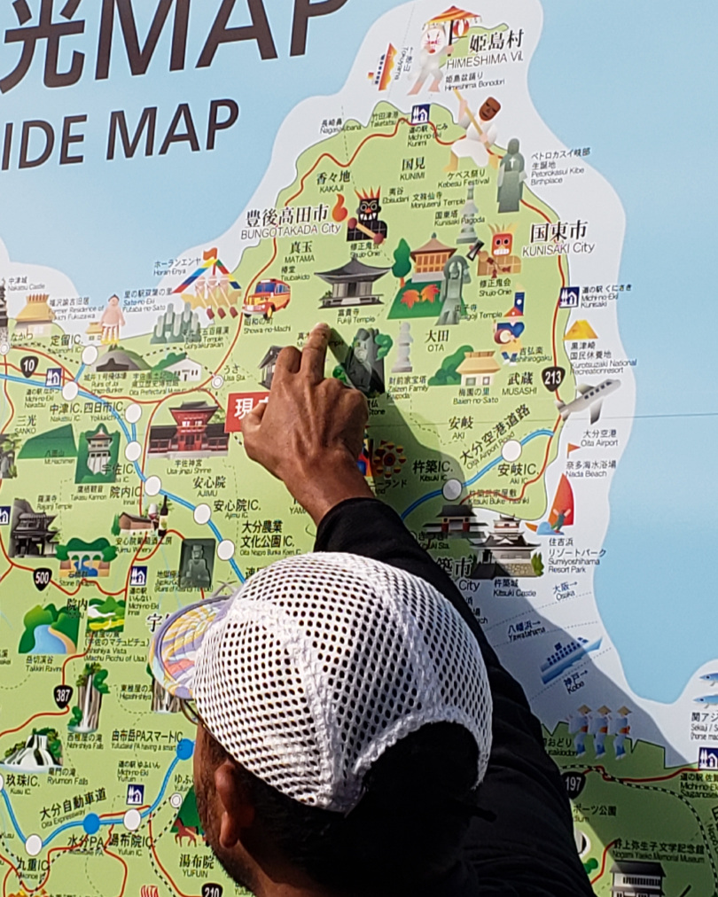 Our guide, Mario Anton from WalkJapan, shows us the way, using this roadside map of the peninsula.