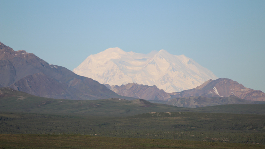 Excellent view of the south (left) and north (right) summits from the road to Wonder Lake.