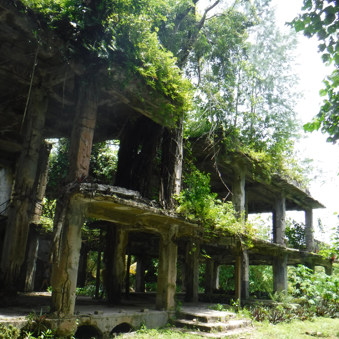 The remains of what was a Japanese command center that also housed high ranking personnel.