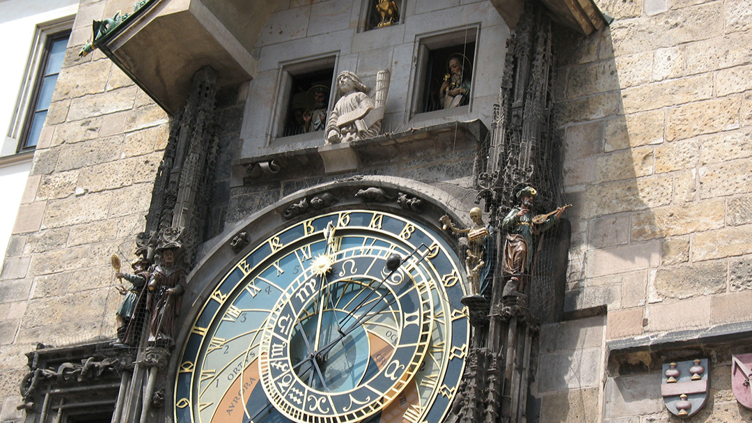 One of the famous Prague clocktowers, 2008