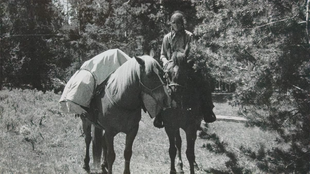 The author on her NOLS horsepacking course, 1974.