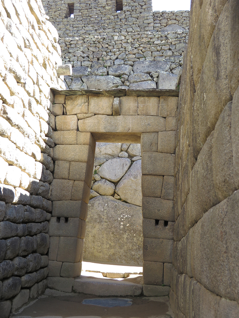 Typical Incan doorway at the royal residence– stronger because it's wider at the bottom than at the top.