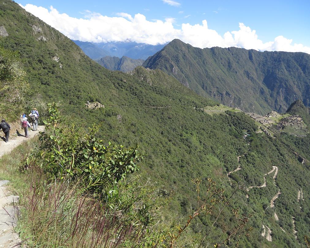 "Sun Gate trail to Machu Picchu (showing Hiram Bingham ""Highway"" switchbacks on the right)."