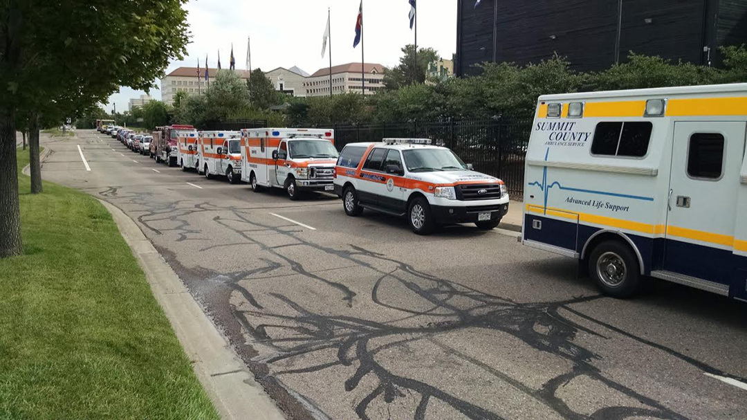 Just some of the emergency vehicles at the service