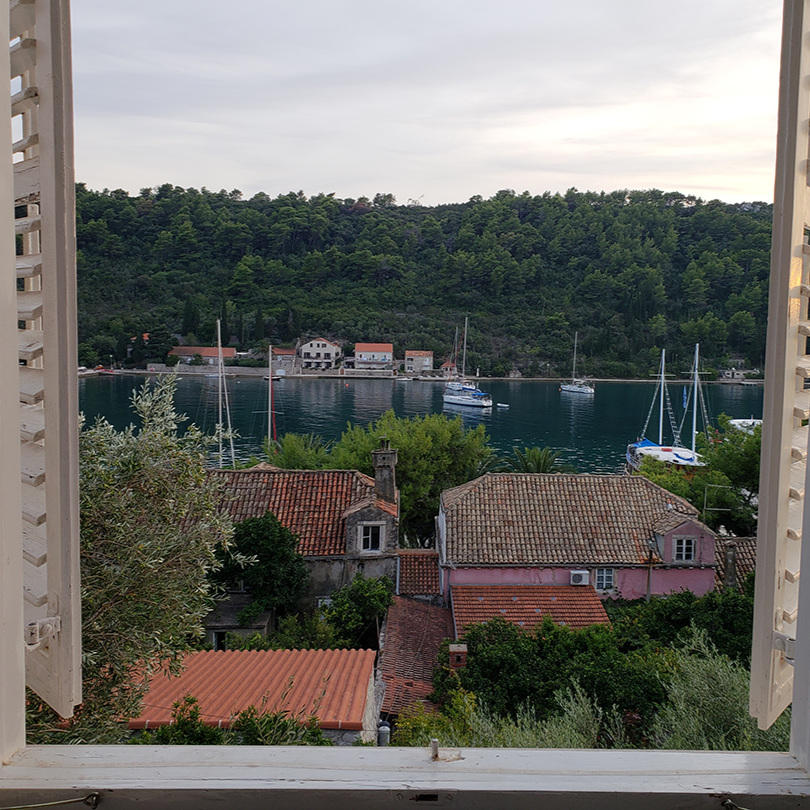 The view from our guesthouse room in Luka, Sipan.