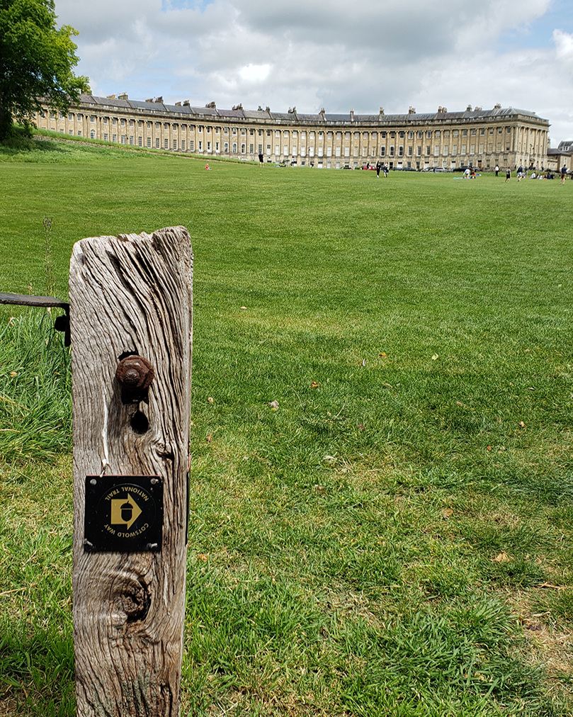View of Bath's famous Royal Crescent from our vantage point coming into town.