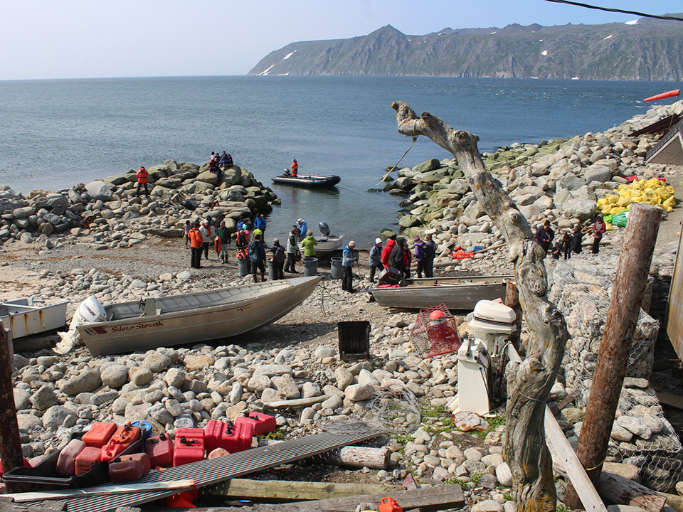 The village landing, with Big Diomede Island in the background.