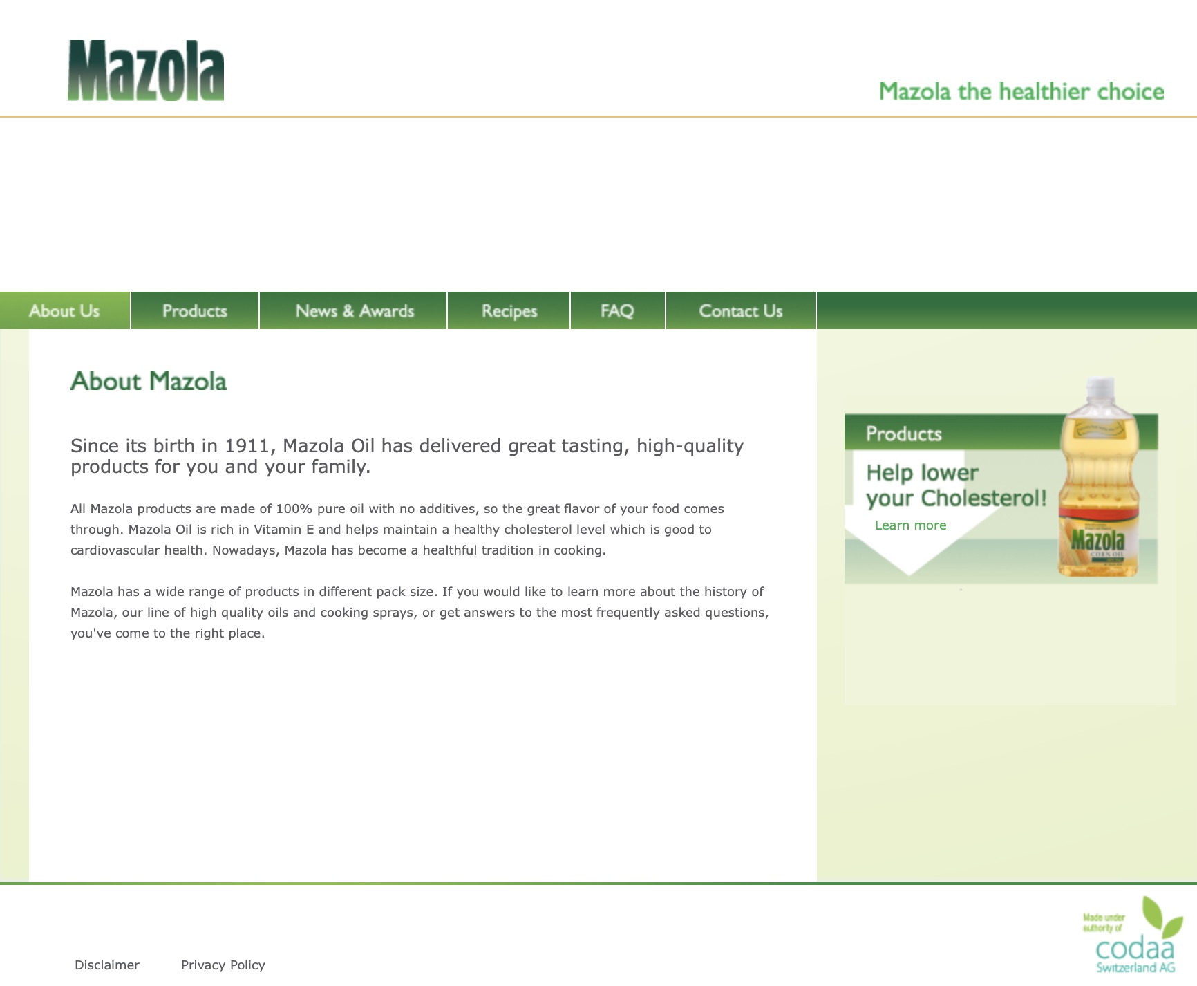 MAZOLA's Official Website → -