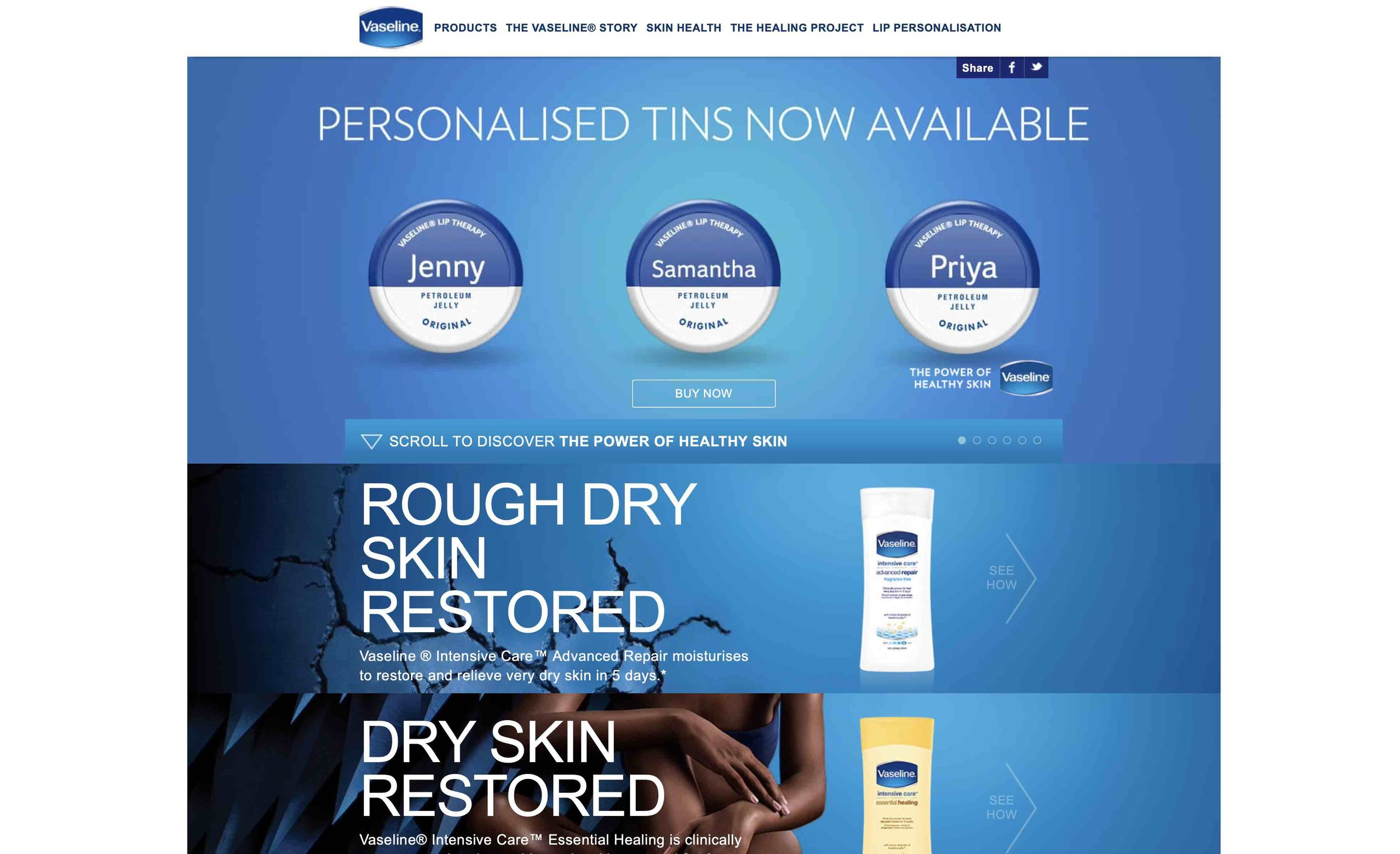 VASELINE's Website → -