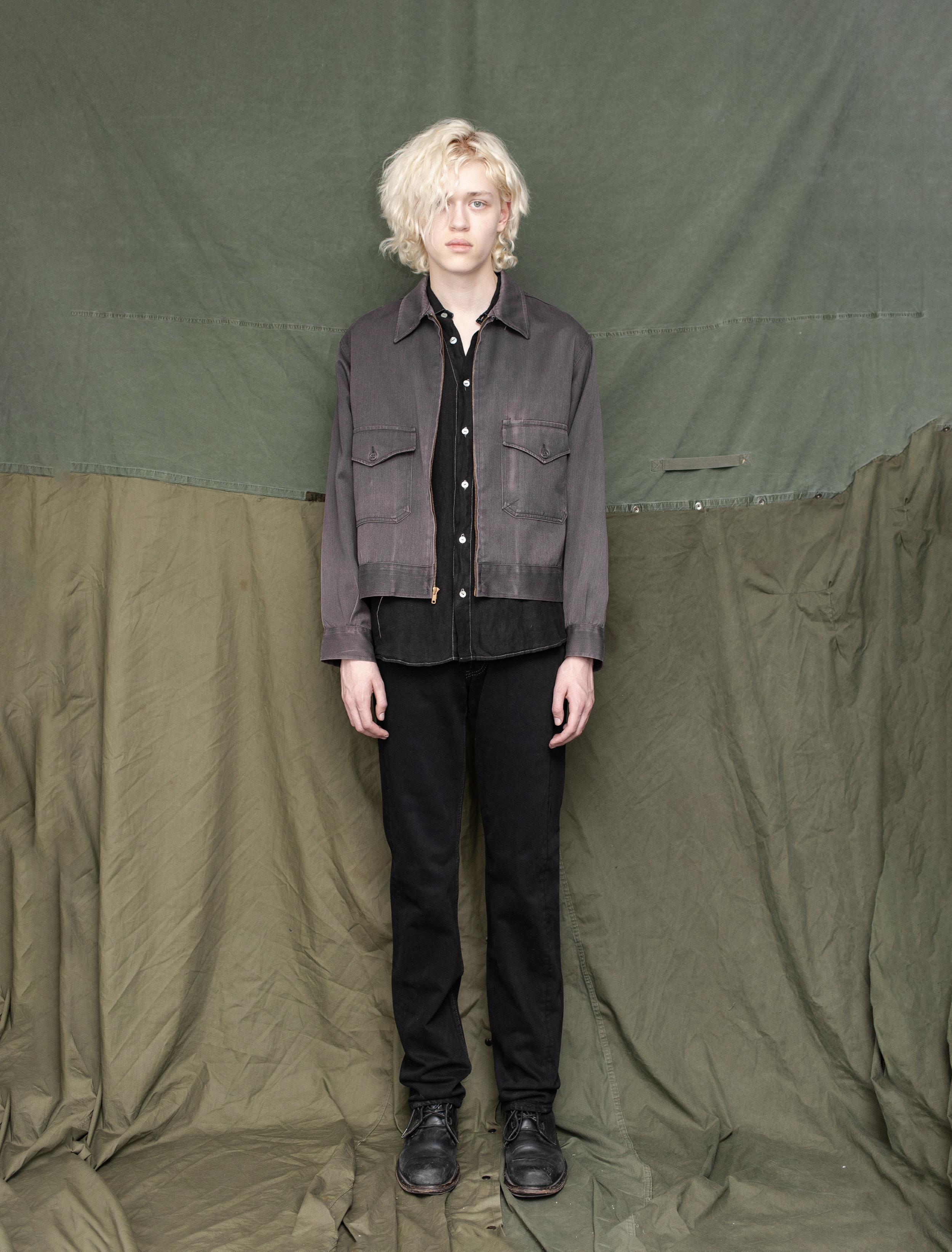 50's Gabardine Work Jacket 80's Italian Wrinkled Linen Shirt 80's Levi's 501 Jeans