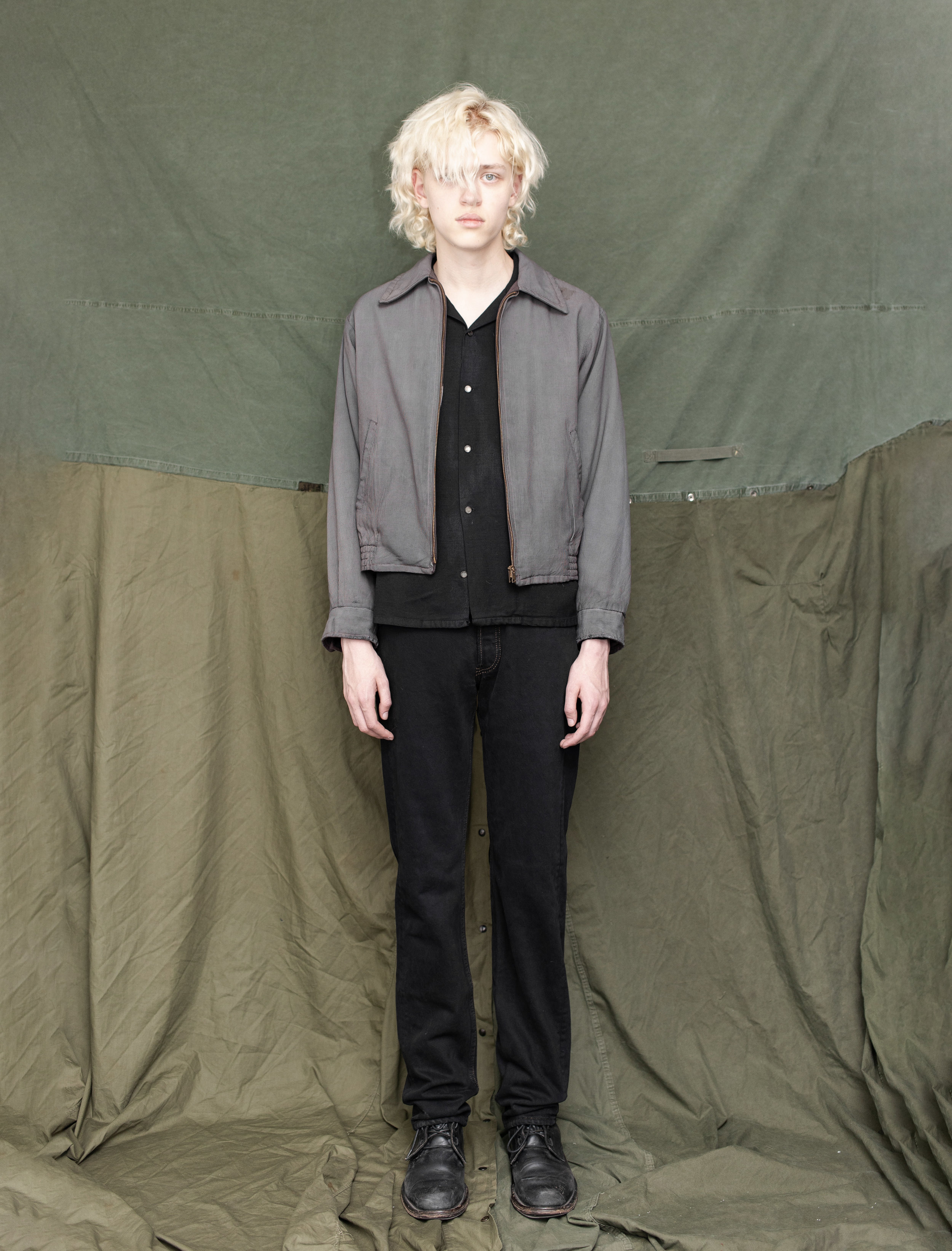 50's Reversible Gabardine Jacket 50's Gabardine Loop Collar Shirt 80's Levi's 501 Jeans