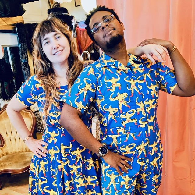 Another matching outfit found @prettyparlors , one of our favorite Seattle shops.  #couplesstyle #matchingoutfits #matchingcouples