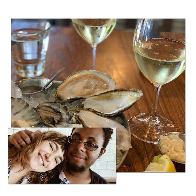 """Loving some oysters and cava on this beautiful Seattle day.  John took the day off for us to have an """"us day"""". So nice to just have some unscheduled time together."""