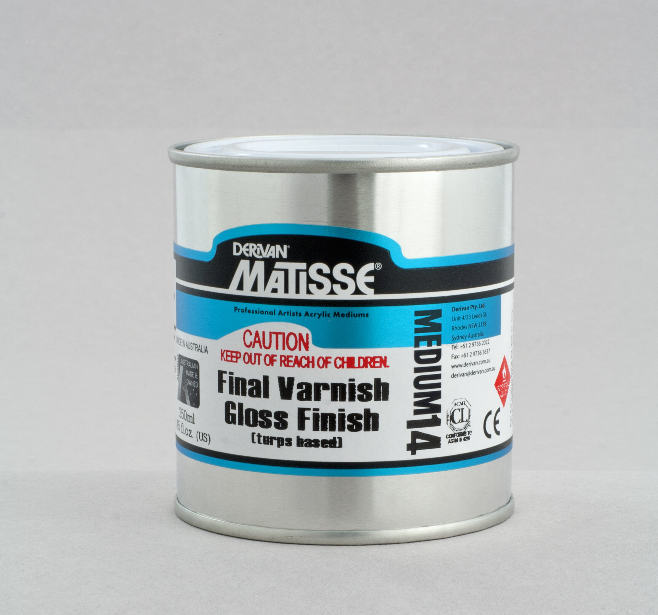 MM14 Gloss Varnish(turps-based) - ———————Conservation quality solvent-based non-yellowing acrylic gloss finish varnish. Redissolves in turps to strip and clean or to rework.