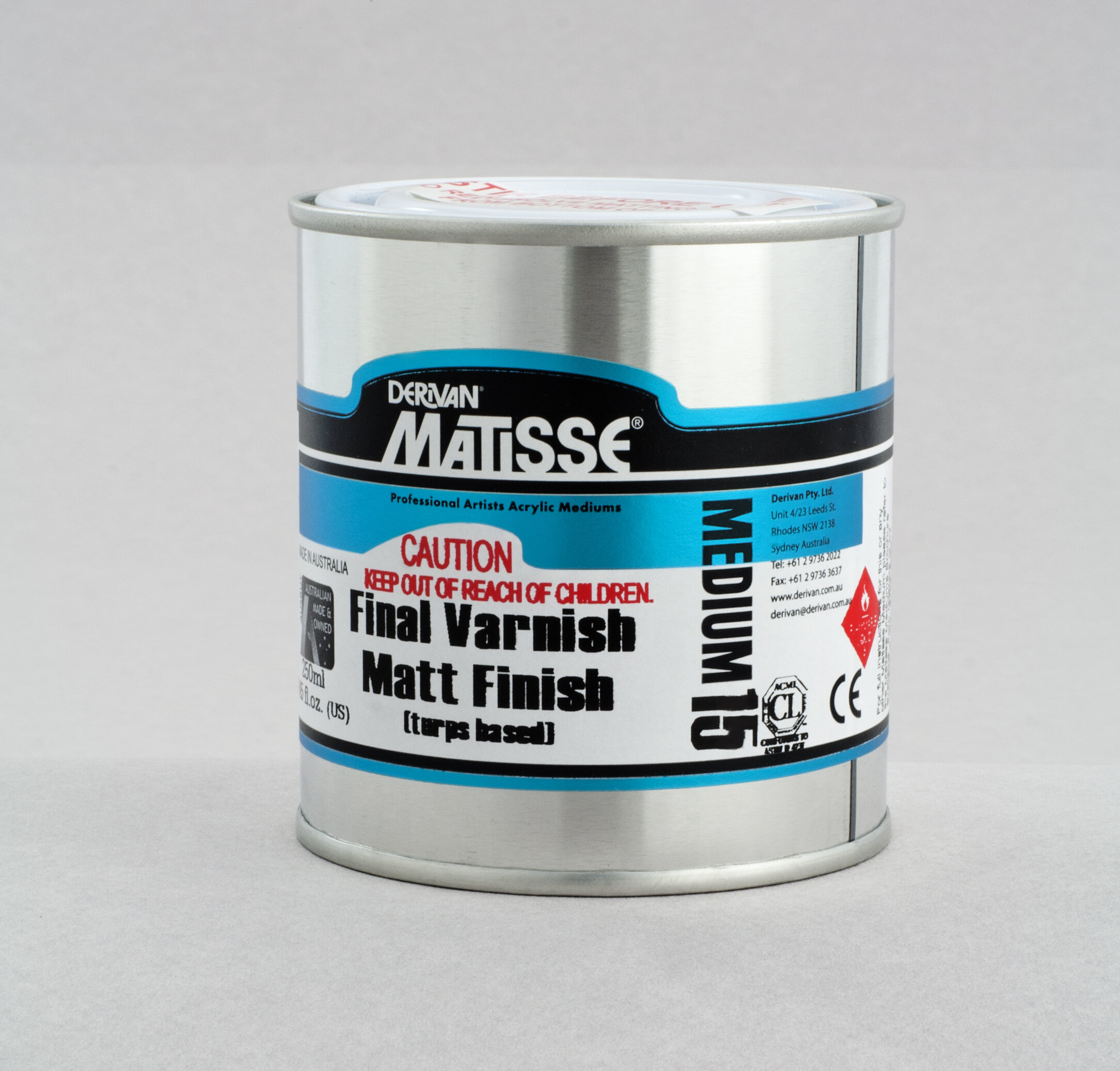 MM15 Matt Varnish(turps-based) - ———————Conservation quality solvent-based non-yellowing acrylic matt finish varnish. Redissolves in turps to strip and clean or to rework.