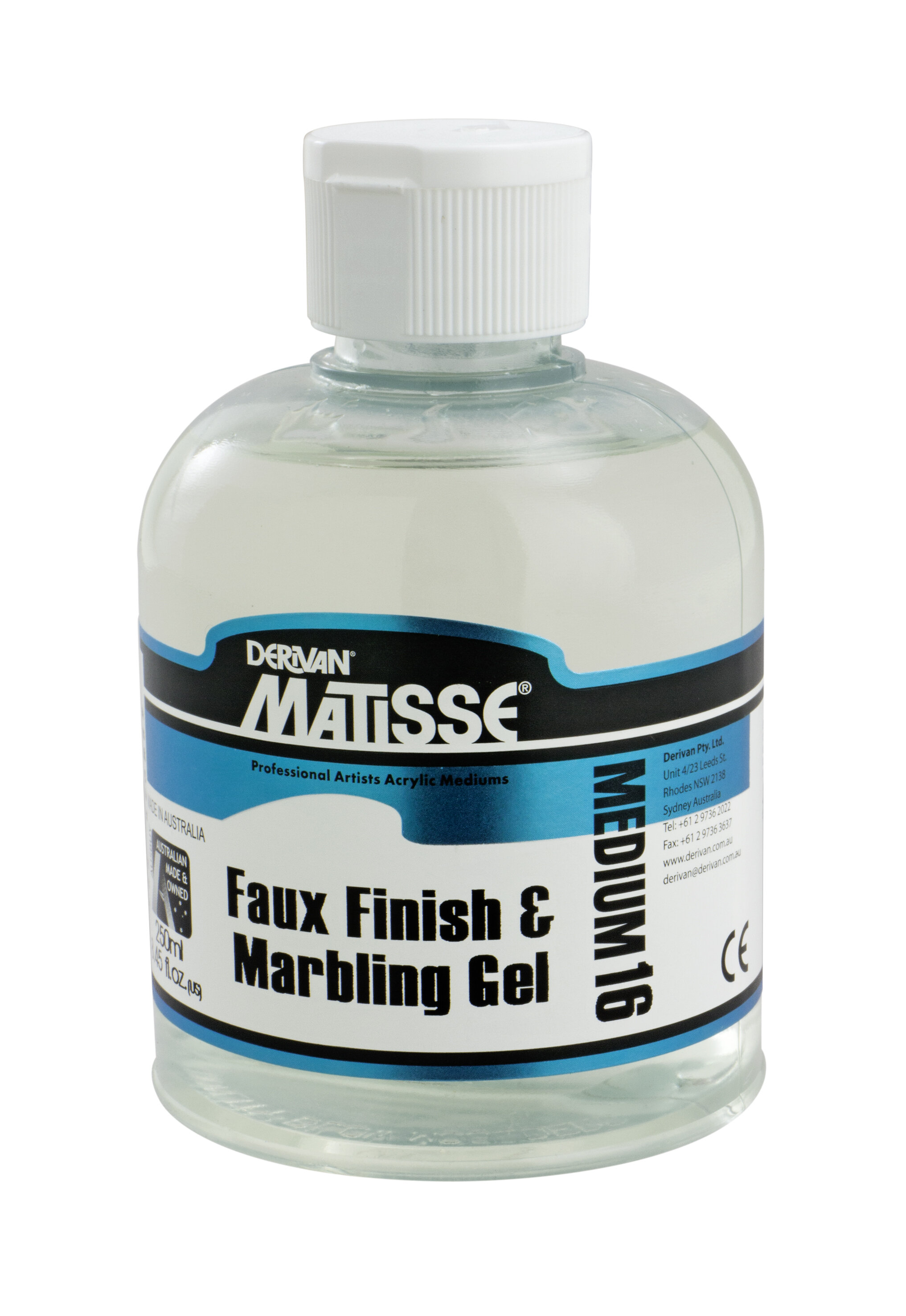 MM16 Faux Finish & Marbling Gel - ———————Also known as scumble glaze. Mix with Matisse Colours to slow drying time and extend the paint to achieve transparent glazes.