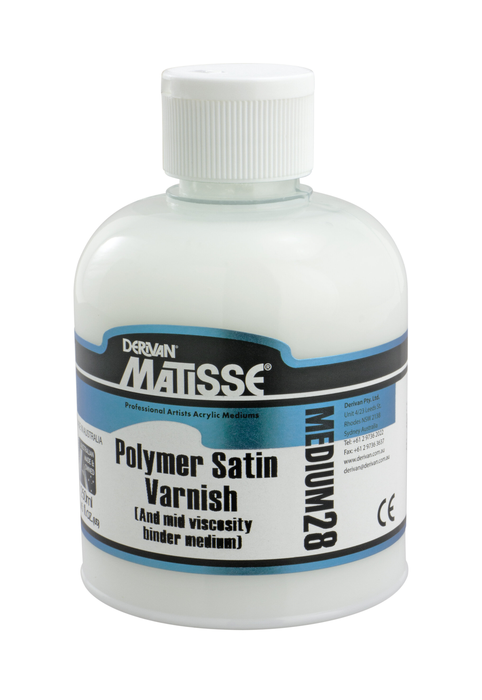MM28 Polymer Satin Varnish - ———————Use as a final varnish or can be mixed with Matisse Colours. Non-yellowing satin finish.