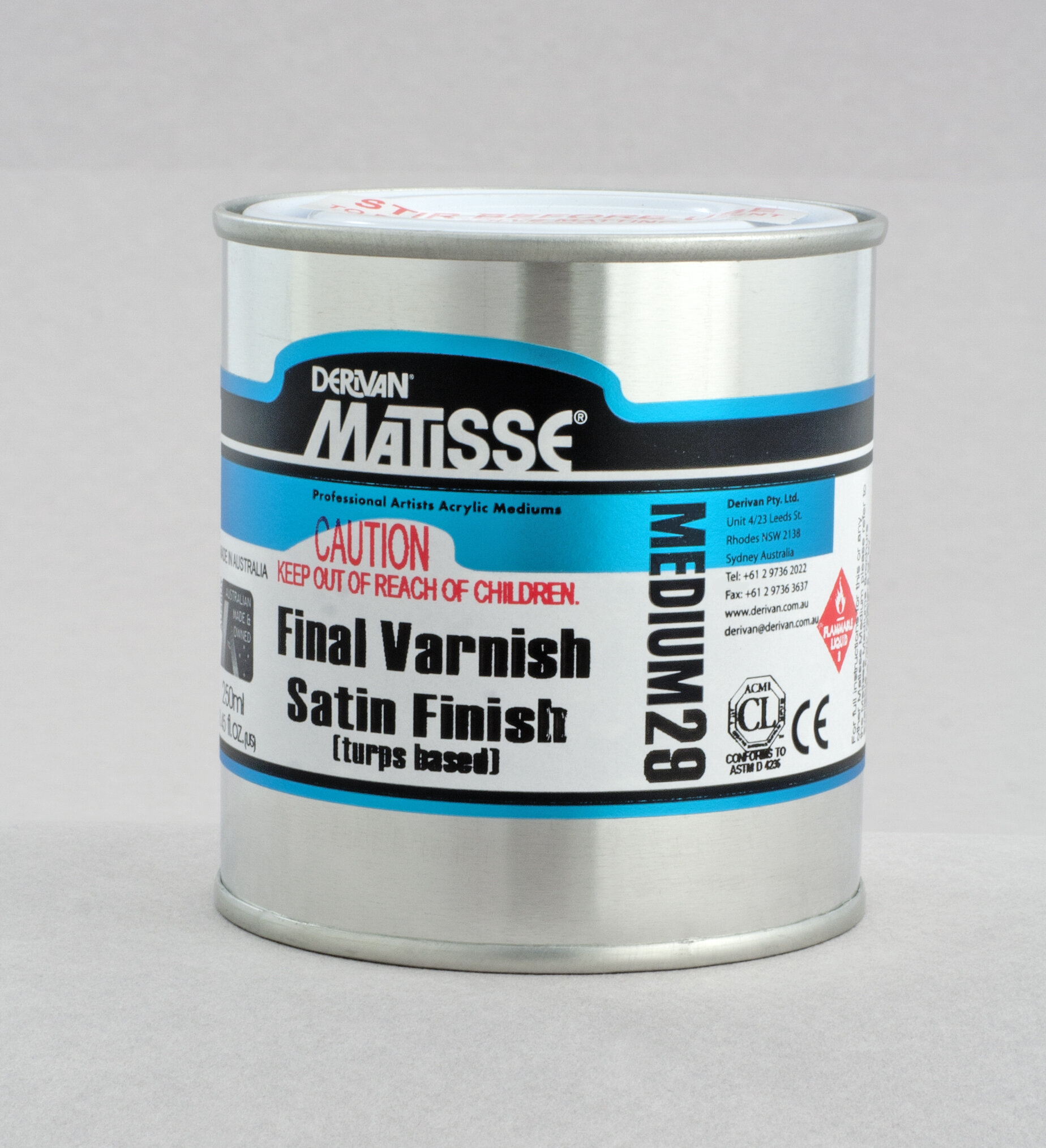 MM29 Satin Varnish(turps-based) - ———————Conservation-quality solvent-based non-yellowing acrylic satin finish varnish. Redissolves in turps to strip and clean or to rework.