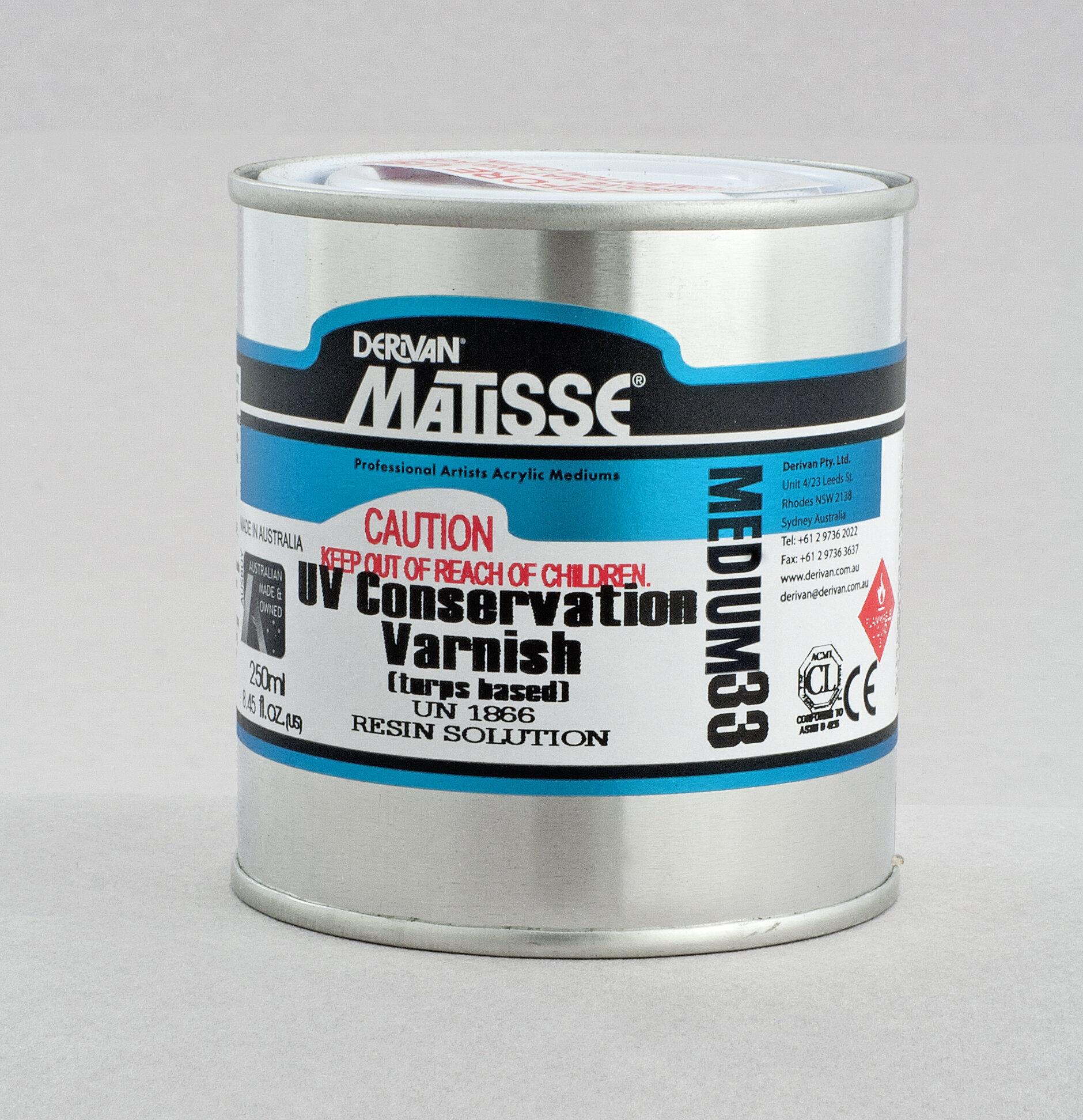 MM33 UV Conservation Varnish - ———————Non-yellowing acrylic resin varnish containing UV inhibitors. Final clear gloss finish.