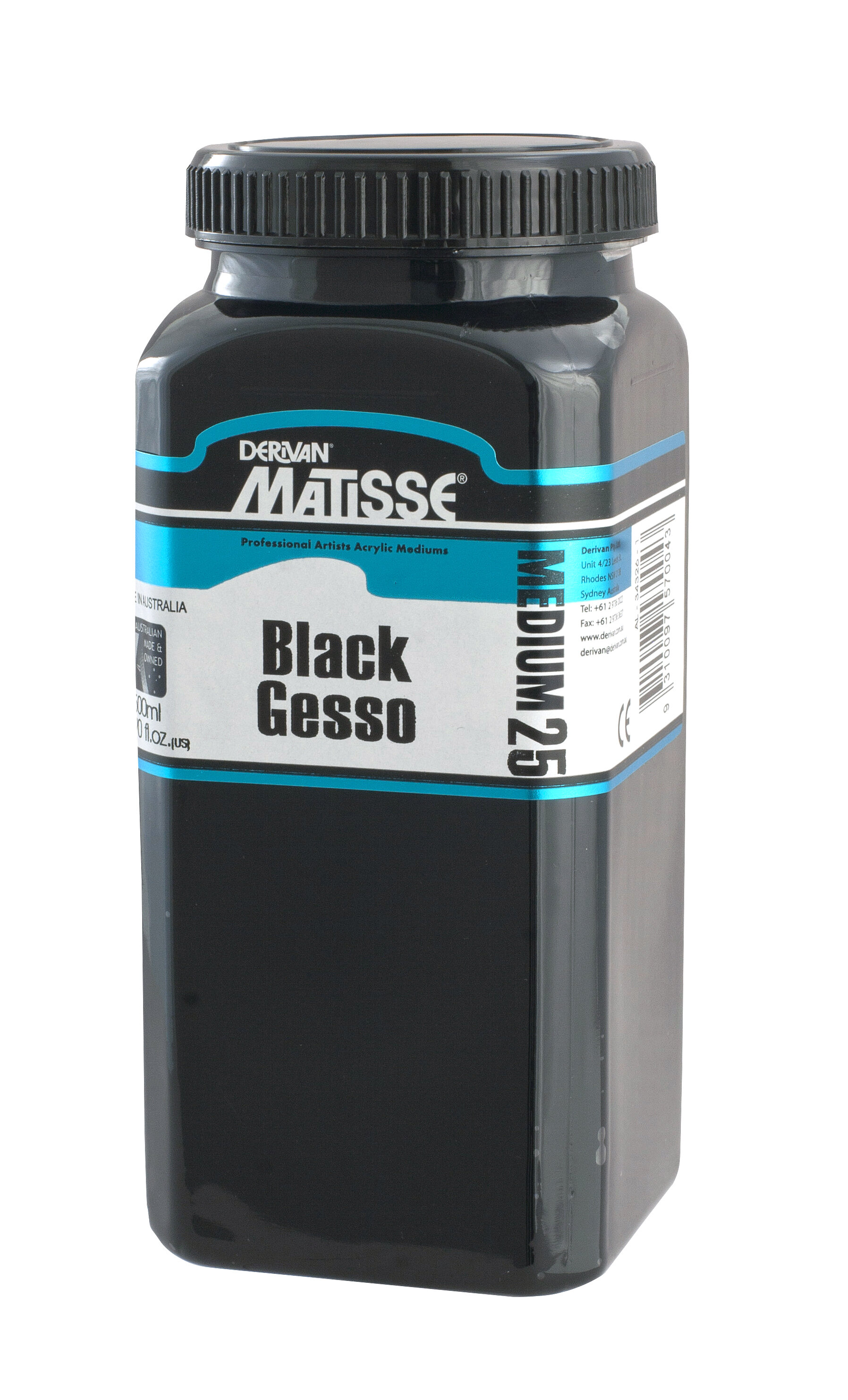 MM25 Black Gesso - ———————A full bodied permanent, flexible primer for use on canvas, paper, board or wood for paintings in acrylics or oils.